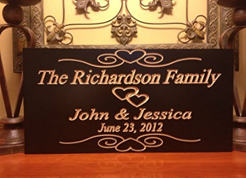 Est. Family Wooden Sign Wedding Gift Last Name Engraved Marriage with Hearts and Scroll (Engraved Wooden Plaques)