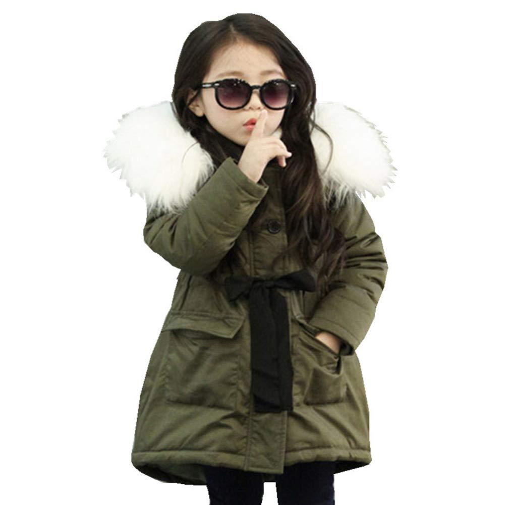 Fashionwu Girls Fashion Detachable Collar Thickening Cotton-Padded Jacket Large Collar Warm Hoodie Coat Army Green 130cm