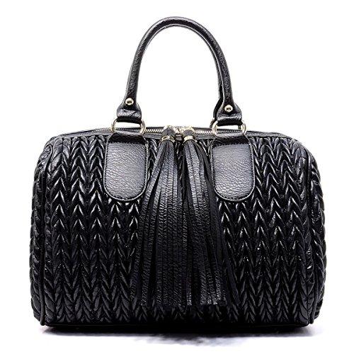 Handbag REPUBLIC Quilted Boston Satchel w/Fringe Pulls + Strap -Ostrich Black