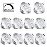 10 Pack,Pocketman 110V 5W Dimmable LED Ceiling Light Downlight,Warm White Spotlight Lamp Recessed Lighting Fixture,with LED Driver