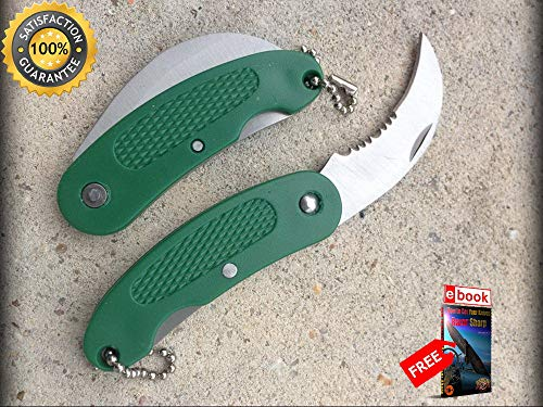 FOLDING POCKET Sharp KNIFE Mini Green Silver Serrated Curved Blade Keychain EDC 6 Combat Tactical Knife + eBOOK by Moon Knives