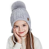 SOMALER Toddler Kids Winter Earflap Beanie Hat Boy Girl Fur Pompom Knit Hats