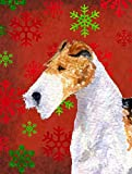 Caroline's Treasures SS4685CHF Fox Terrier Red and Green Snowflakes Holiday Christmas Canvas House Flag