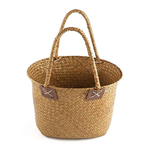 YCDC 2 Pcs/Set, Pastoral Style Seagrass Weave Flower Basket, Sundries Storage Tote Bag, Household Decorative Flowerpot, Handmade Crafts by YCDC