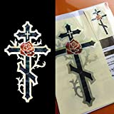Cross & Rose (large and small) Set In Abalone Theme Inlay Sticker Decal Guitar & Bass