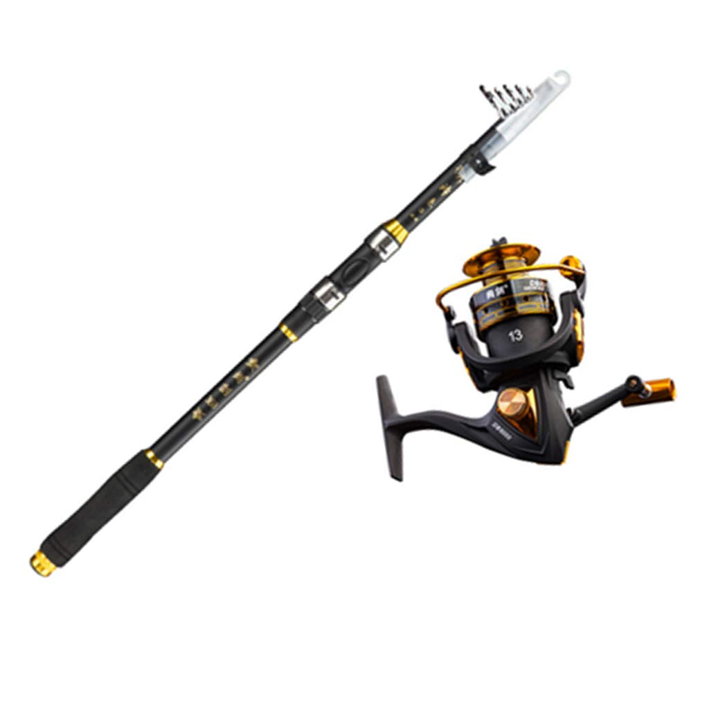 Telescopic Fishing Rod and Spinning Reel Combo Set with Fishing Line, Fishing Lures Kit Accessories and Great for Beginners-2.1m by GSPURS