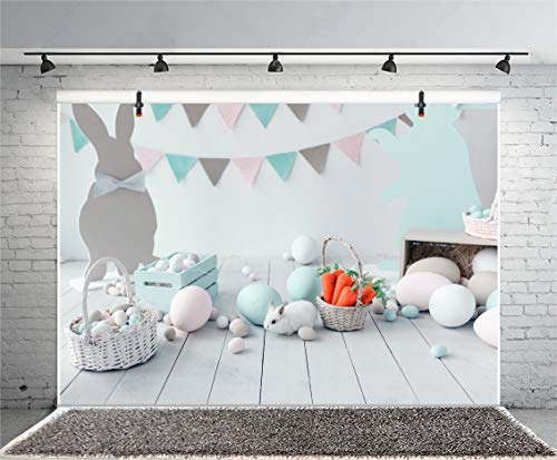 Leyiyi 10x8ft Room Interior Photography Background Banner Flags Bunny RABIT Colored Eggs Rustic Basket Carrots Wooden Floor Lay Flat Backdrop Happy Easter Day Photo Portrait Vinyl Studio Video Prop