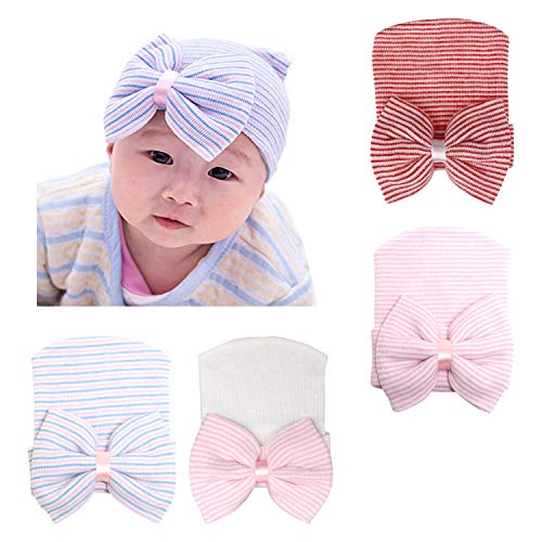 DRESHOW BQUBO Newborn Hospital Hat Infant Baby Hat Cap Big Bow Nursery Beanie (4 Pack A Bow Knit Ribbon B / 0-3 Month)]()