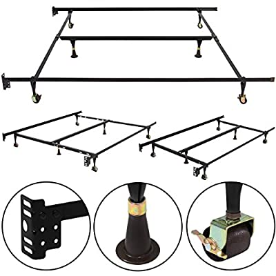 Best Choice Products Metal Bed Frame Adjustable Queen Full Twin Size W/ Center Support Platform
