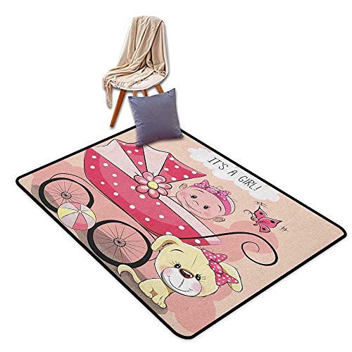 Non-Slip Carpet Gender Reveal Greeting for New Infant Puppy Dog and Baby Carriage Pastel Colors Inner Door Rug W6'xL7'