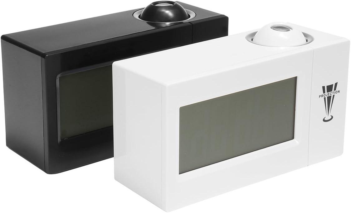 EsportsMJJ Snooze Sveglia Retroilluminazione Proiettore Wall Clock Di Proiezione Con Termometro 12//24 Ore Calendario-Bianco