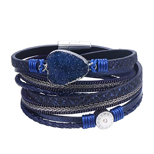 - AZORA Leather Wrap Bracelet for Women Multi Layer Druzy Stone Cuff Bracelets with Magnet Clasp Gift for Girls - Navy