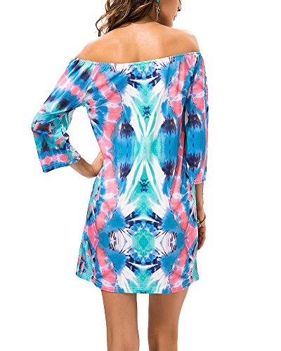 ff015e0d0698 ... Sommerkleid Damen Schulterfreies Kleid Ethnisches Druckkleid Tunika Kleid  Strandkleid 13 orMIwah