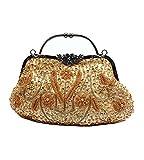 MissFox Women's Retro Sequins Beaded Handbag Chain Shoulder Evening Bag