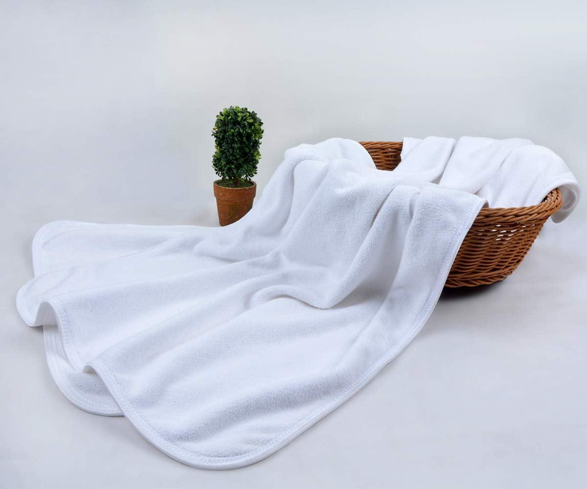 draps de Bain /à Douces KinHwa Set de 4 Microfibre Serviettes de Toilette pour Salle de Bains 40cm x 76cm absorbantes et s/échage Rapide Blanc
