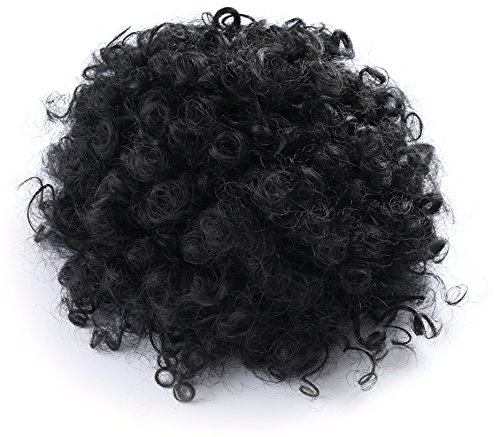 Onedor African American Afro Short Kinky Curly Wrap Drawstring Puff Ponytail Bun Extension
