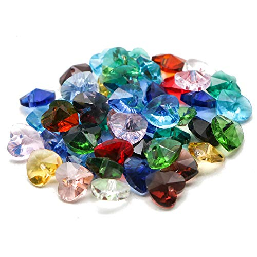 JETEHO 50pcs 10mm Mixed Color Crystal Glass Heart Beads Heart Shaped Spacer Beads for Jewelry Making