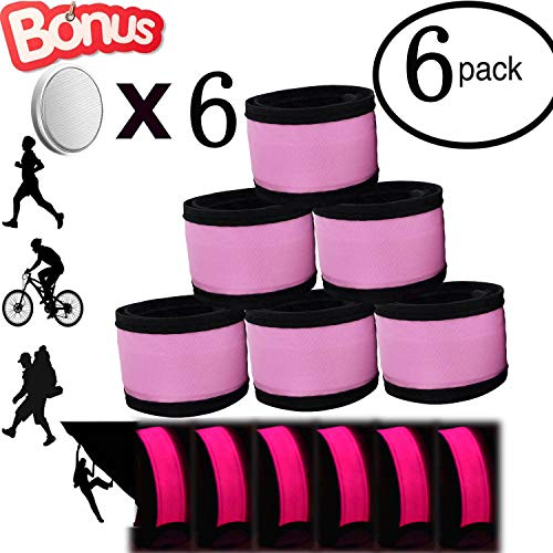 - AMNQUERXUS LED Glow Slap Bracelet, Light Up Wristband 6-Pack High Visibility Safety Band for Cycling Walking Running Concert Camping Outdoor Sports-Fits Women, Men & Kids (Pink)