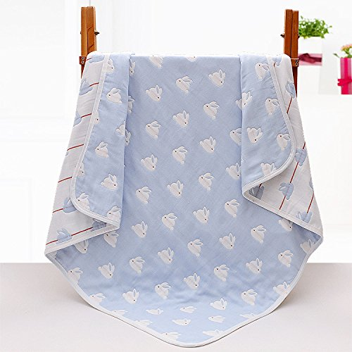 Baby Gauze Blanket/Comforter/Swaddle Boys Girls Bed Quilt 100% Muslin Cotton 6 Layered Crib Dream Blankets for Newborn Toddler Kids (Rabbit Blue)