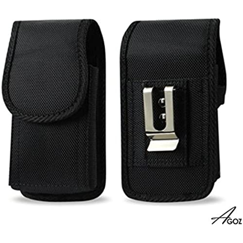 For Samsung Galaxy S7, HEAVY DUTY RUGGED Canvas Vertical AGOZ Carrying Case Holster with Strong Metal Clip Belt Loops and Velcro Closure Sales