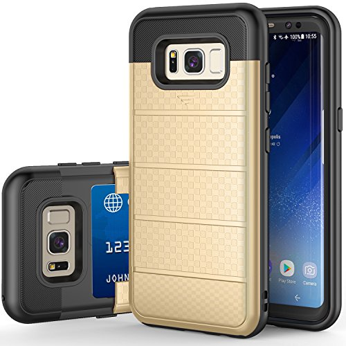 Galaxy S8 Case, TILL(TM) [Card Pocket] Heavy Duty 2-Layer Protective Shell Rubber Bumper with Sliding Card Holder Slot Wallet Case Cover for Samsung Galaxy S8 G950 S VIII (5.8 Inch) 2017 -Gold