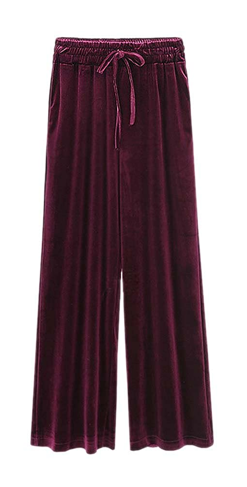 ARJOSA Women's Velour Pockets Drawstring Wide Leg Lounge Pants Trousers GLK-30221