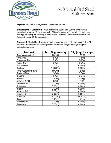 Harmony House Foods, Dehydrated Garbanzo Beans (25 lb Bulk Box) by Harmony House Foods (Image #1)