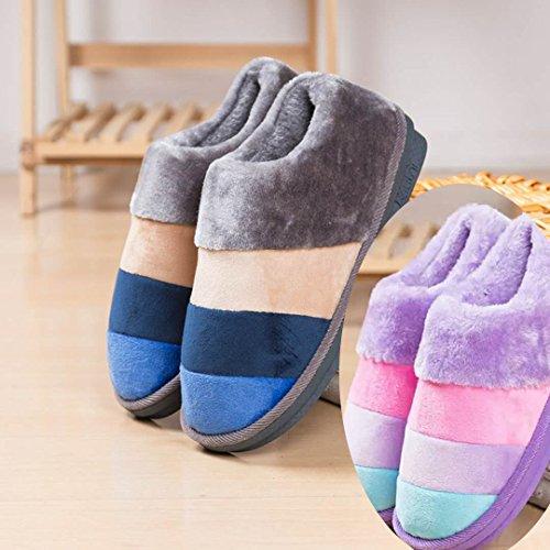 LaxBa Femmes Hommes Chaussures Slipper antiglisse intérieur gris bleu Hommes+The Girl Purple 40/41+42/43