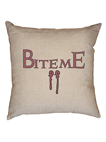 Vampire Bite Me Fang Mark Halloween Decorative Linen Throw Cushion Pillow Case with Insert]()