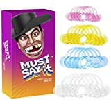 Must Say It, Pack of 20 Mouth Openers for Hilarious Party Fun, Mouth Piece Challenge Game W Free Phrase Guessing Phone APP (5 L Clear + 5 M Blue + 5 M Yellow + 5 S Pink)