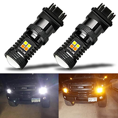 iBrightstar Extremely Bright 3030 Chipsets 3157 4157 3155 3457 Switchback LED Bulbs with Projector Replacement for Daytime Running Lights/DRL and Turn Signal Lights,White/Amber (Led Switchback Turn Signal)