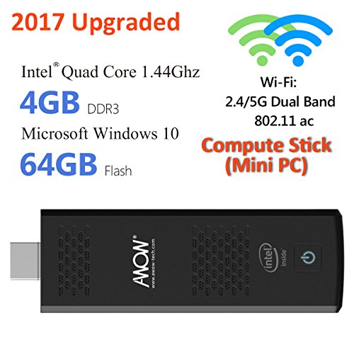 AWOW 4GB 64GB Mini PC Computer Stick Windows 10 Pro (64-bit) Licensed – ( Intel Cherry Trail X5 Z8350/4GB/64GB/Dual-Band WiFi 2.4G/5G with 802.11 ac/4K )