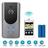 Video Doorbell,Mucjun Wifi Smart Door Bells,720p HD Door Chimes Camera with 2 Batteries,180° Wide Angle Lens Two-Way Audio & Night Vision,PIR Motion Detection Alerts Wireless Doorbells for IOS Android