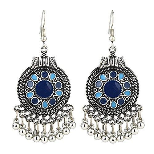 Infgreate Retro Ethnic Round Enamel Pendant Tassels Hook Earrings Beautiful And Lovely Jewelry Women Party Jewelry Blue
