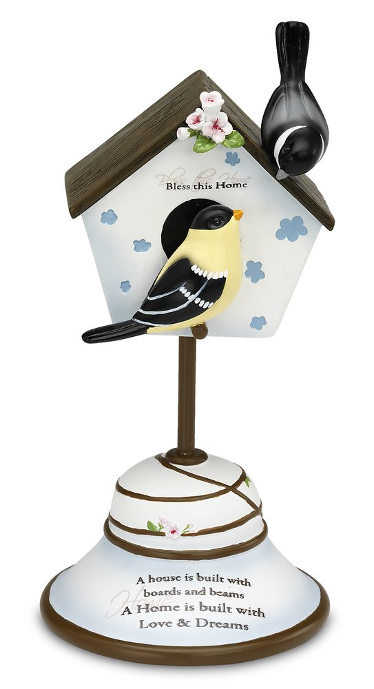 Peace, Love and Birds by Pavilion 7-Inch Decorative Bird House Finial, Bless This Home Sentiment
