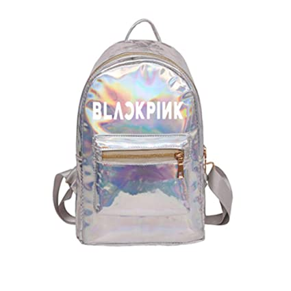 Amazon.com: Blackpink Holographic Laser Leather Backpack for Girls Pink Silver Backpack for Women(YG Idol): Computers & Accessories