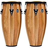 Latin Percussion LPA647-SW Aspire Wood Congas 11-Inch and 12-Inch Set with Double Stand - Siam Walnut/Black
