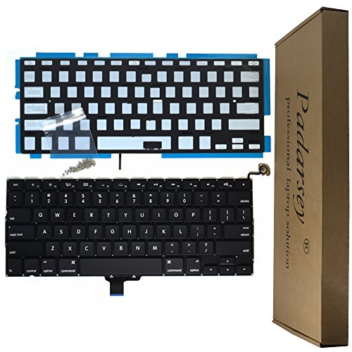 Padarsey Backlight Backlit Keyboard with 80 PCE Screws for MacBook Pro Unibody 13.3