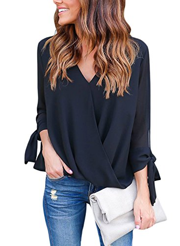 Leindr Women's Casual Loose Fit V Neck 3 4 Sleeve Side Ties...