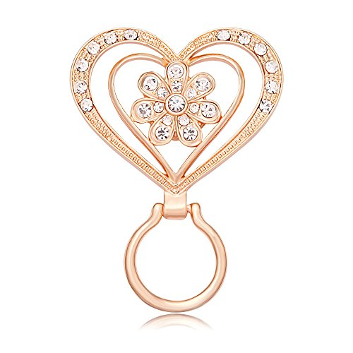MANZHEN New Crystal Flower Brooch Magnetic Clip Holder Double Heart Magnetic Eyeglass Holder Brooch (Rose Gold)