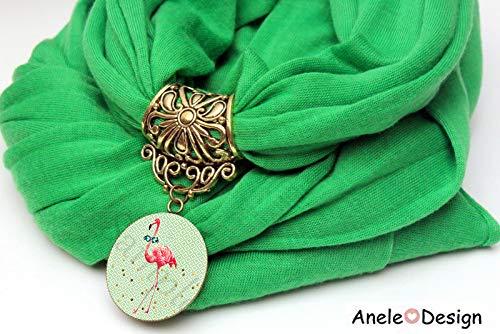 Foulard flamant rose, foulard vert femme, flamant rose, echarpe femme,  cadeau femme 0d29a9ef787