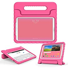 Samsung Galaxy Tab E 9.6 kids case, COOPER DYNAMO Rugged Heavy Duty Children's Boys Girls Bumper Drop Proof Protective Carry Case Cover + Handle, Stand & Screen Protector for SM-T560 T561 Pink