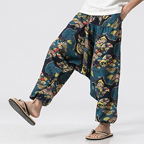 Pantaloni Wide With Hippy Zhhlaixing Boho Uomo Pants Summer Leg Pockets Alternativo Harem Men's Come Yoga Blu Aladdin Abbigliamento ROZ4d