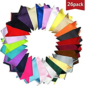 OLizee 26pcs 8.6 x 8.6 Men Formal Silk Satin Pocket Square Hankerchief Hanky Plain