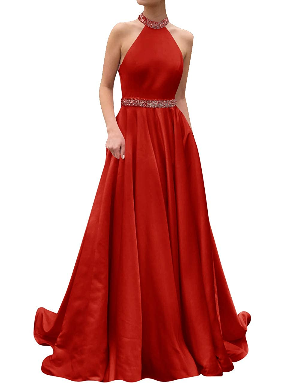 Red ASBridal Prom Dresses Long Evening Gowns Halter Beaded Party Prom Gowns Bridesmaid Dress Open Back