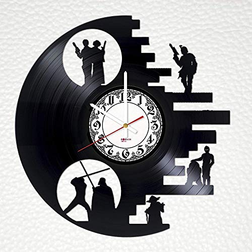 (Death Star Handmade Vinyl Record Wall Clock - Get unique bedroom wall decor - Gift ideas for friends, men and women - Star wars Unique Art Design)