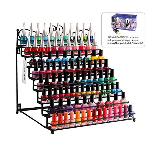 Dazone Mounted 8 Tier Metal Shelf Nail Polish Wall Rack Essential Oils Perfume Table Top Organizer Display Stand by DAZONE