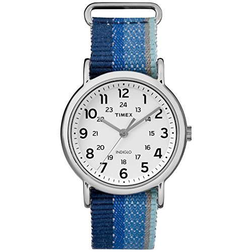Timex Unisex TW2R10200 Weekender Blue Striped Denim Slip-Thru Strap Watch