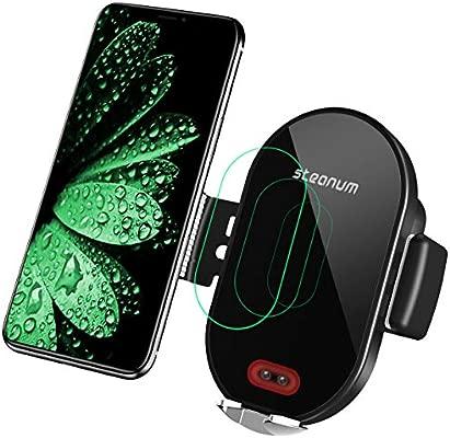 steanum Cargador inalámbrico Coche, Qi 10W Rápida Carga Sensor Infrarrojo Soporte Móvil con Rejilla Compatible con Galaxy s9/s9+/s8/s8+/s7, 7.5W ...