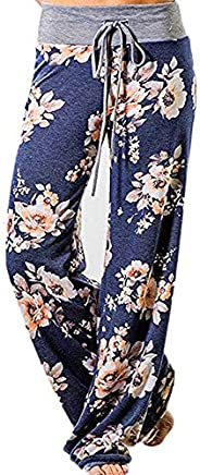 JINGCHENG Women's Comfy Stretch Floral Print High Waist Drawstring Palazzo Wide Leg P